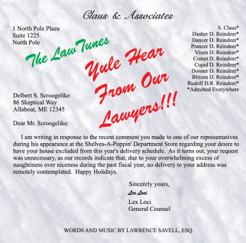 Yule Hear From Our Lawyers - Legal Humor Lawyer Gift Holiday Music CD from LawTunes.com