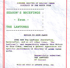 Season's Briefings From The LawTunes - Legal Humor Lawyer Gift Holiday Music CD from LawTunes.com